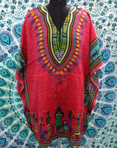 Short V-Neck Pink African Kimono Kaftan~Beach Caftan~Free Size Dress~FREE SHIP - $8.59