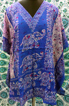 Short V-Neck Blue Elephant Kimono Kaftan~Beach Caftan~Free Size Dress~FREE SHIP - $9.49