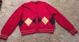 Talbots Women's Red Wool Blend Cardigan Sweater, Size L - $27.99