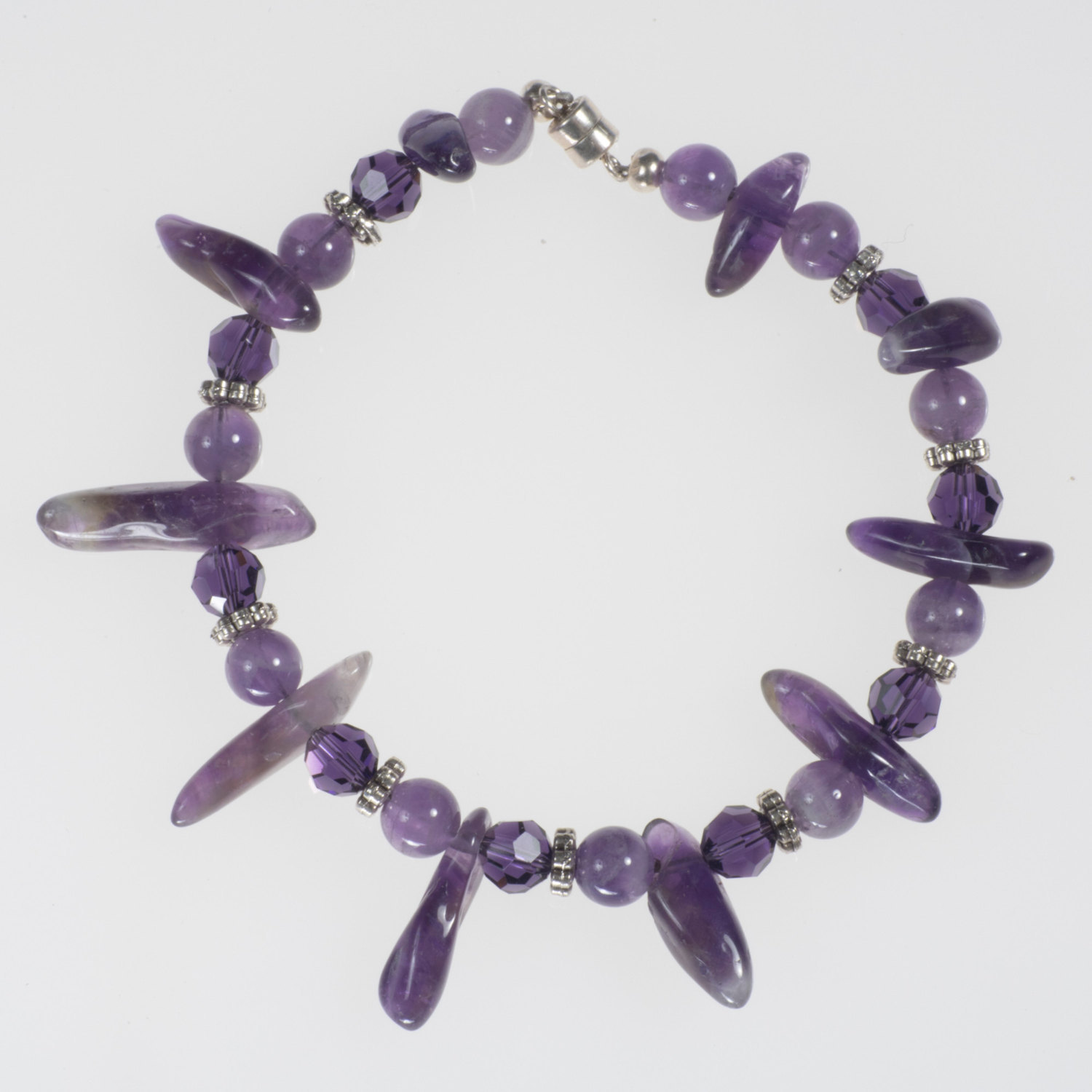 Amethyst Stone and Silver Bracelet - $18.00