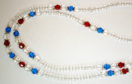 Red and Blue Crystal Lanyard// ID Badge Holder - $19.99