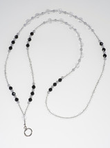Black Crystal and White Pearl Lanyard// ID Badge Holder - $19.99