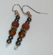 Red Onyx Marble and Smoky Topaz Hematite Silver Earrings - $5.00