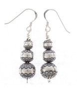 Navajo DESERT PEARL Earrings Sterling Silver Stamped Dangles on French H... - $119.00