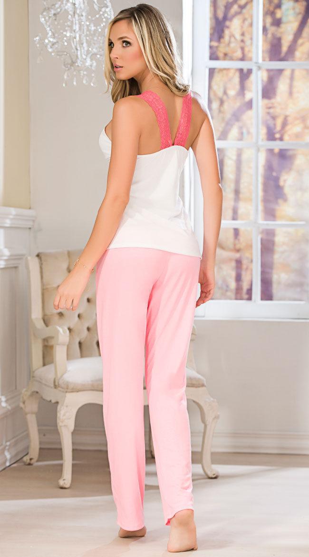 Mapale White Top & Pant Set w/ Pink Lace & KissLips Pajama Lounge Sleepwear 7102
