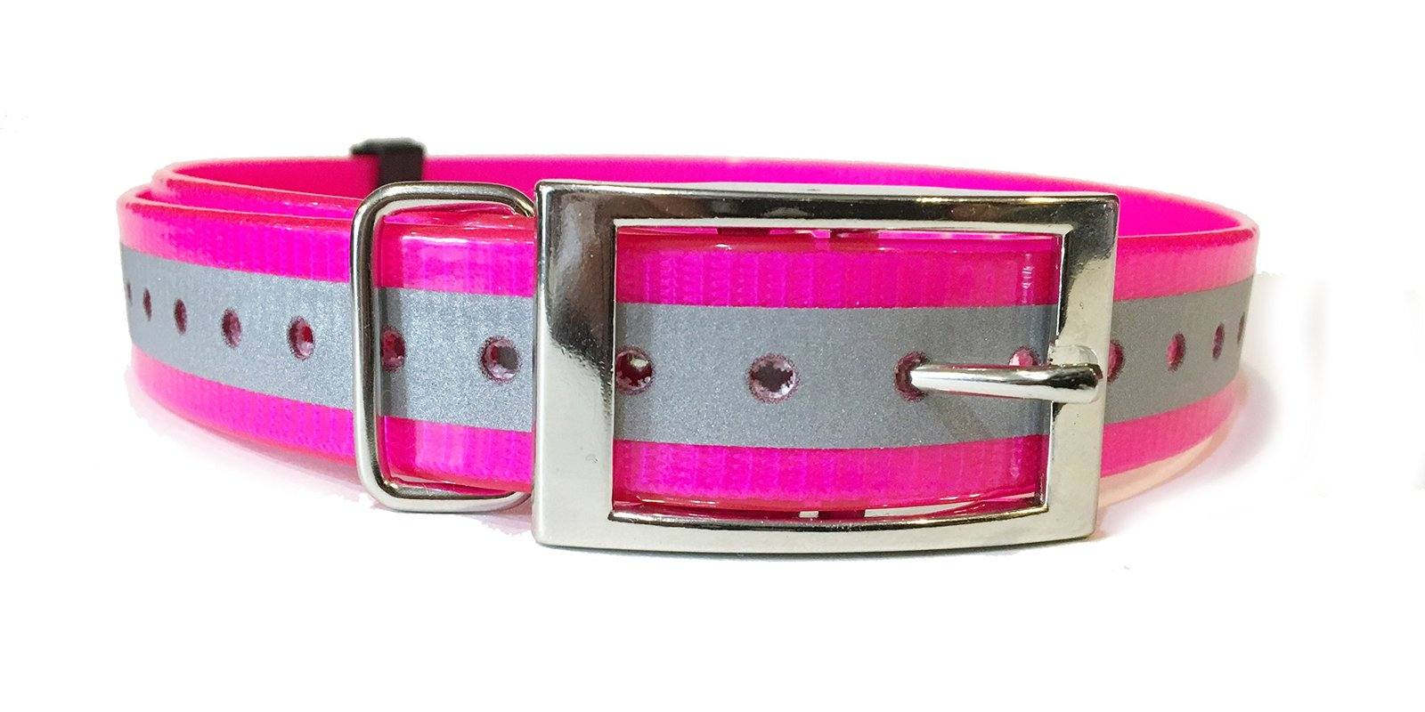 "SparkyPetCo 3/4"" Square Buckle High Flex Reflective Pink Dog Strap For Garmin..."