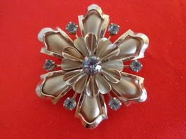 1950's-60's Silver Brooch is Made up of Blue Crystal Rhinestones (#0523) - $69.99