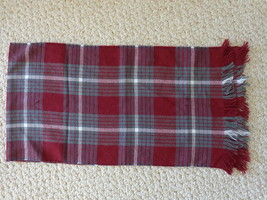 """""""HORKSHIRE PRODUCT"""" RED, GRAY & WHITE PLAID SCARF (#1054) made in U.S.A. - £13.30 GBP"""