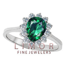 8x6mm PEAR SHAPED EMERALD COCKTAIL RING 14K WHITE GOLD SIZE 7 - $257.53