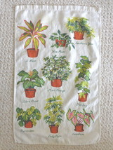 Vintage Kitchen Towel Decorated with Potted Plants (#1117). - $11.99