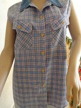 Vintage Plaid Jean Blouse by Faded Glory (#0975). - $11.99