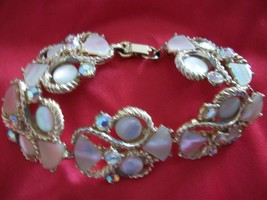 Vt Weiss Bracelet with Mother of Pearl Shells Austrian Prong Set Crystal... - $92.99