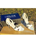 Dolce by mojo moxy Women Size 10 White Strap Stiletto Slip-on Sandals Shoes - $24.74