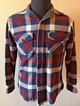 Vintage Woolrich Blue Red White Plaid Wool Heavyweight Mens Shirt size M... - $56.95