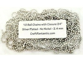 """Craft Fantastic 10 Ball Chains with Closure, 24"""", Silver Plated"""