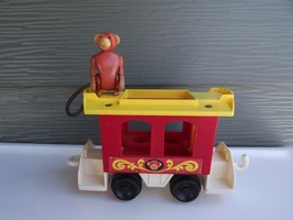 Vintage Fisher Price Little People Circus Train #991 Red Caboose w/ Monkey  - $21.40