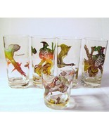 Vintage Hazel Atlas Game Birds  High Ball Glasses - ₹857.39 INR