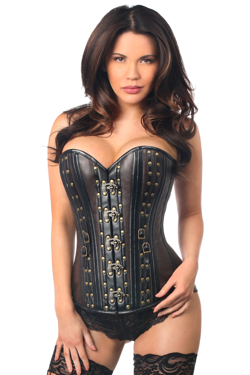 Daisy Corsets Top Drawer - Faux Leather Steel Boned Corset with Rivets