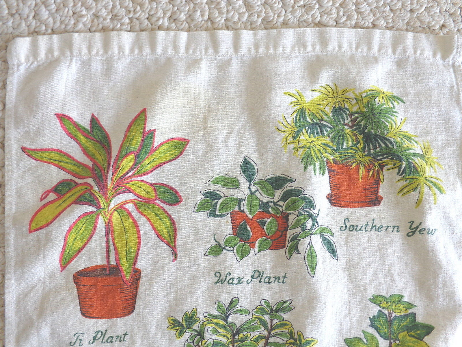 Vintage Kitchen Towel Decorated with Potted Plants (#1117).