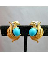 Avon Clip On Earrings Bird of Paradise Turquois... - $14.84