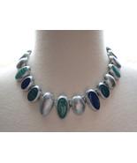 VTG Anne Klein Silver Necklace Lucite Stone Str... - $98.99