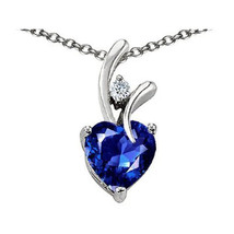 7MM OR 9MM HEART SHAPE BLUE SAPPHIRE PENDANT SOLID 14K YELLOW OR WHITE GOLD image 2