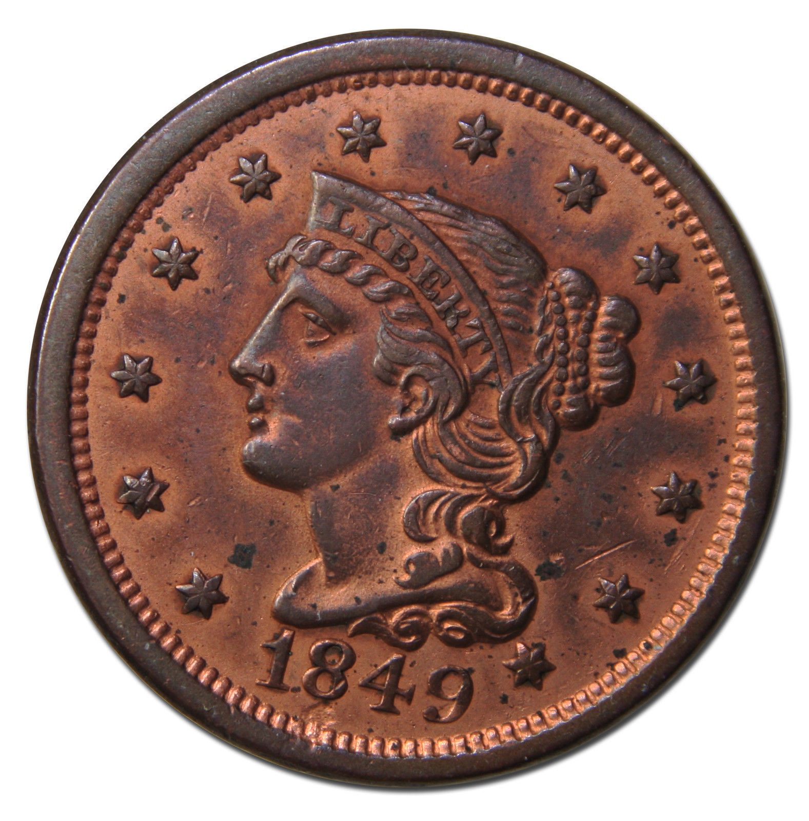 1849  Large Cent Liberty Braided Hair Head Coin Lot # MZ 3742