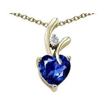7MM OR 9MM HEART SHAPE BLUE SAPPHIRE PENDANT SOLID 14K YELLOW OR WHITE GOLD image 5