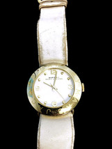 Women's Marc Jacobs Amy White Leather Strap Watch MBM1150 Needs Battery Used - $38.00