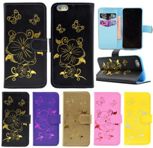 Hot Stamping Golden Pattern Magnetic Stand Cover Case for iPhone 6 6S Plus - $6.55