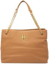 Tory Burch Womens Black Gold Leather Britten Triple Tote Bag Purse 8648-5 - $393.82