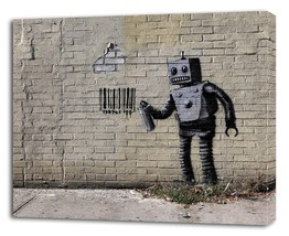 BANKSY CONEY ISLAND ROBOT CANVAS PRINT Wall Decor Art Graffiti Painting ... - $14.99+