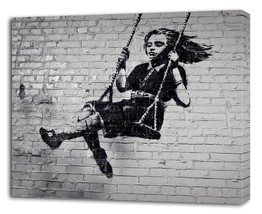 BANKSY GIRL SWING CANVAS PRINT Wall Decor Art Graffiti Street Painting G... - $14.99+