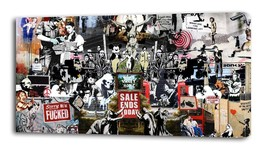 BANKSY COLLAGE CANVAS PRINT Home Wall Decor Art Graffiti Street Painting... - $14.99+