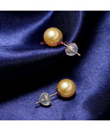 Top 14K 9-10MM round real NATURAL SOUTH SEA yellow golden PEARL stud EAR... - $327.25