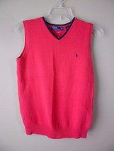 Polo Ralph Lauren Youth/Boys M (10-12) Red V-Neck Knit Sweater Vest New - $26.53 CAD
