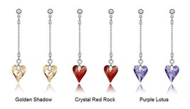 Hypoallergenic Long Heart Crystal Stone Medical Stainless Steel Fashion Earrings - $8.48