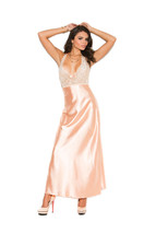 Peach Charmeuse and Lace Nightgown w/V front/Re... - $39.55 - $42.52