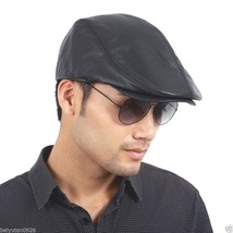 Men's Black Real Leather Fashion Newsboy Ivy Cabbie cap Gatsby Flat Golf... - $18.88