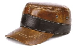 New Fashion Men's 100% Real Brown cowhide Leather Hat / Flat Beret / Gol... - $35.85