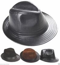 New Men's 100% Real Leather Black Bucket Cap/ Fedora hat /Gentleman Hat - ₨1,106.93 INR+