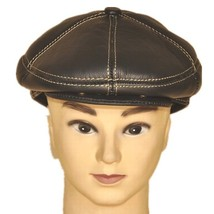 "New Men's ""100% Real Cowhide"" Leather Newsboy Beret / Golf Hat *Black/Brown - $19.99"