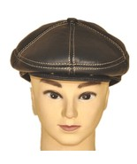 """New Men's """"100% Real Cowhide"""" Leather Newsboy Beret / Golf Hat *Black/Brown - $19.99"""