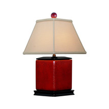 "Red Crackle Diamond Shaped Porcelain Table Lamp 16"" - $148.49"