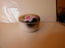 1920s Noritake Vanity Jar Hand Painted Roses Green Mark M in Wreath - $19.80