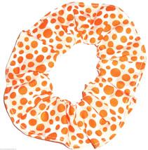 White with Orange Polka Dots Blocks Fabric Hair Scrunchie Scrunchies by Sherry  - $6.99