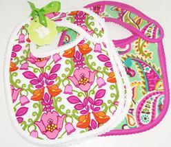 Vera Bradley Bib Set Baby Girls Tutti Frutti LIlli Bell Pink Green Showe... - $44.15