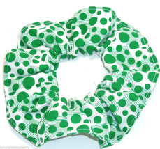 White with Green Polka Dots Blocks Fabric Hair Scrunchie Scrunchies by S... - $6.99