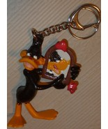 Looney Tunes DAFFY DUCK PVC figure holding mirror keyring key chain clip... - $32.99