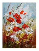 Red Poppies Original Oil Painting Meadow Impast... - $72.00